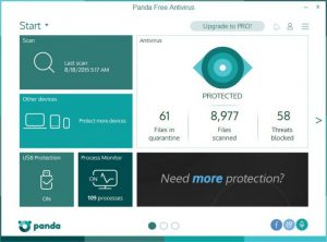 Interfaccia Panda Antivirus