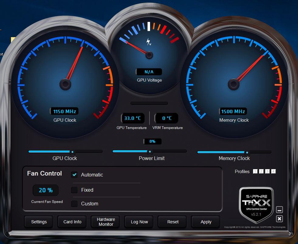 TriXX Ati Sapphire Utility - Originale senza overclock - Clicca per ingrandire