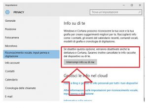 Windows 10: Info su di te