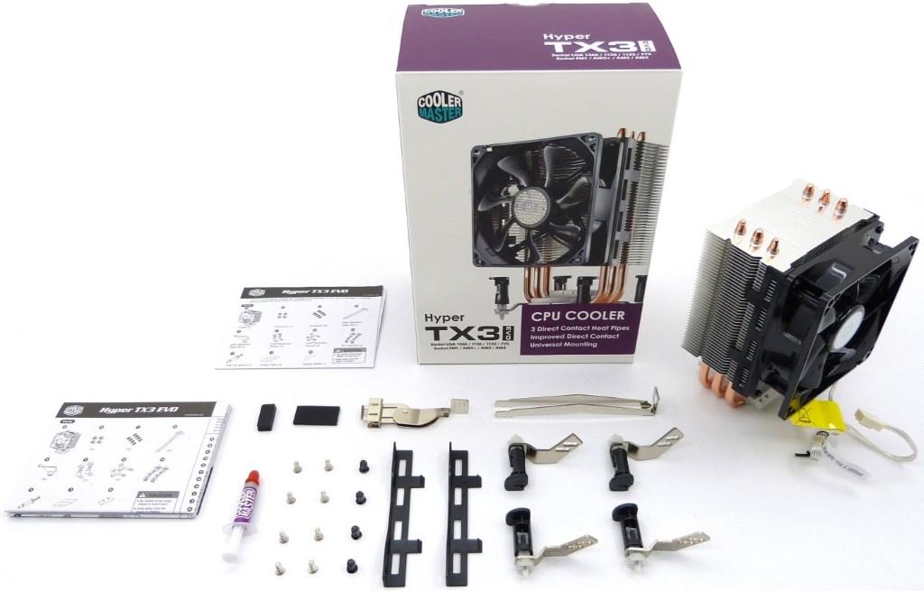 Cooler Master Hyper TX3 Evo - La scatola e tutto il necessario per il montaggio - Clicca per ingrandire.