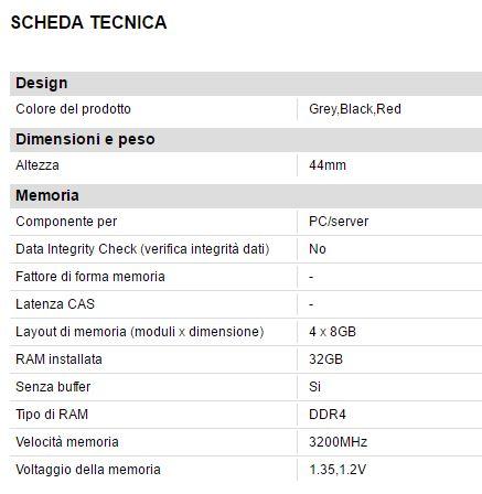 Scheda tecnica G.SKILL Trident Z 3200MHz DDR4 32GB