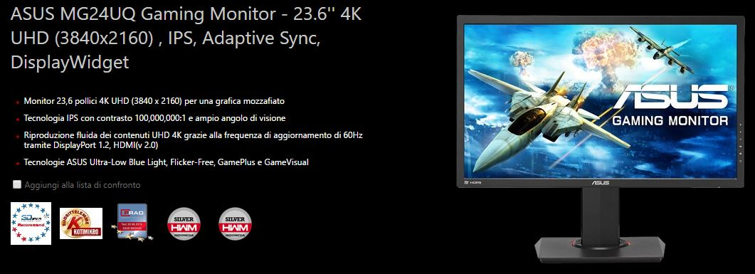 ASUS MG24UQ Gaming Monitor 24 pollici 4K