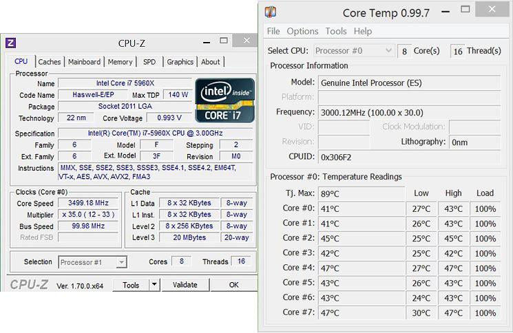 CPU-Z Intel Core i7-5960X Extreme Edition