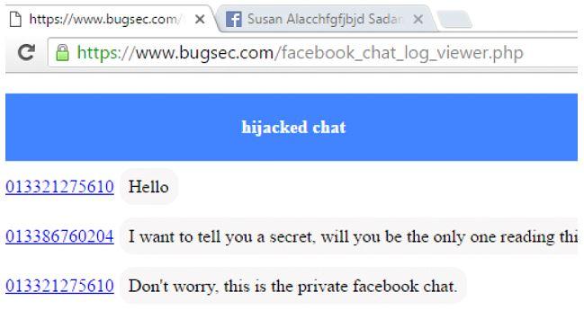 Bug Chat privata Facebook