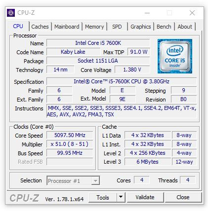 Intel Core i5-7600K CPU-Z