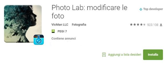 App per fotomontaggi Photo Lab