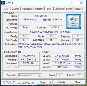 Intel Core I5-7200U CPU-Z