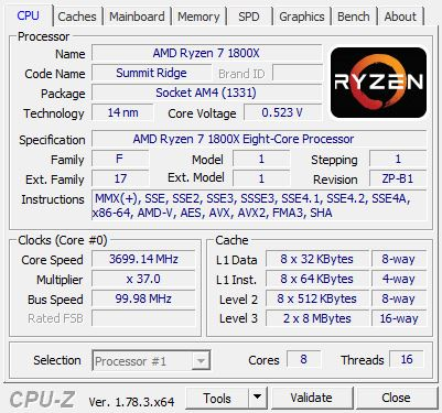 AMD Ryzen 7 1800X CPU-Z
