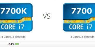 Prestazioni processori i7-7700k vs i7-7700 a confronto
