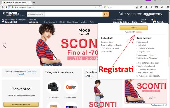 Registrarsi su Amazon