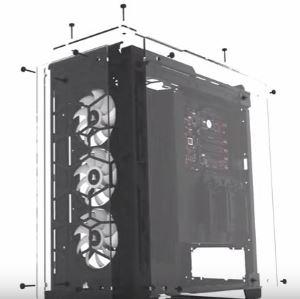 Smontaggio pannelli in vetro temprato case PC della Corsair