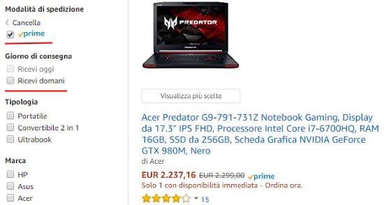 Spedizione Amazon Prime: Ricevilo domani