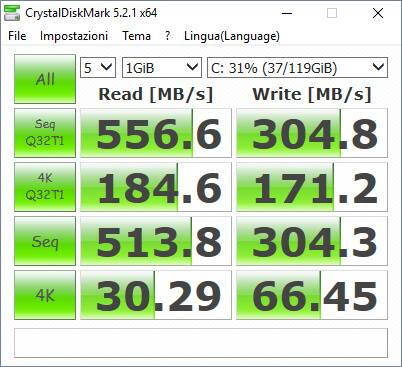 Test SSD con software CrystalDiskMark