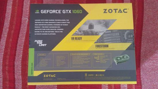 Scatola retro Zotac GTX 1060 unboxing