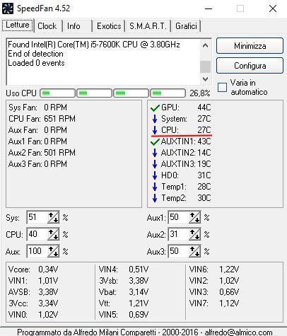SpeedFan 4.52 i5-7600k dissipatore Arctic Freezer 120