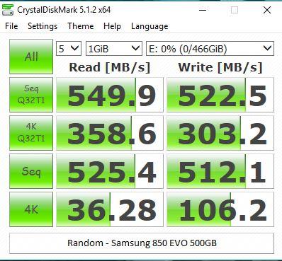 CrystalDiskMark 5.1.2 Samsung 850 EVO 500GB