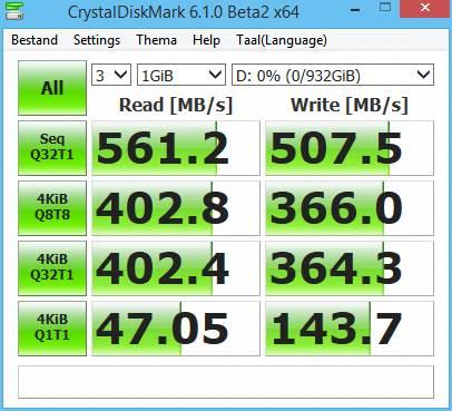 Crucial MX500 1TB SSD prestazioni CrystalDiskMark