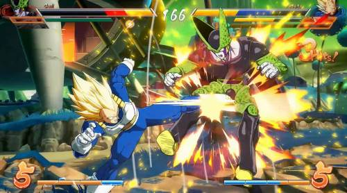 Dragon Ball FighterZ gameplayer Vegeta contro Cell