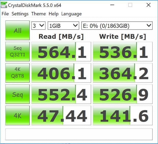 Samsung 860 EVO M.2 2TB CrystalDiskMark
