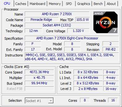 Gigabyte X470 Aorus Ultra Gaming CPU-Z AMD Ryzen 7 2700X