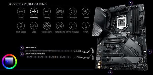 Asus ROG STRIX Z390-E Gaming illuminazione a LED RGB