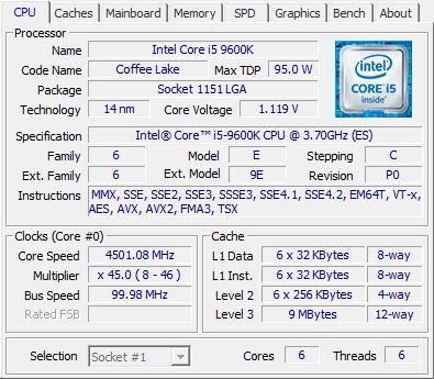 Intel i5 9600K CPU-Z