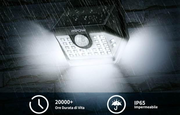 Mpow luce solare da esterno 30 LED PIR sensore di movimento