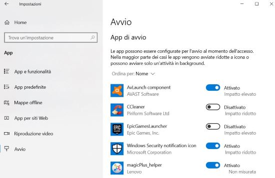 App di avvio Windows 10