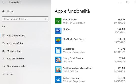 App e funzionalià Windows 10
