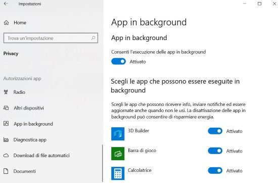 App in background Windows 10