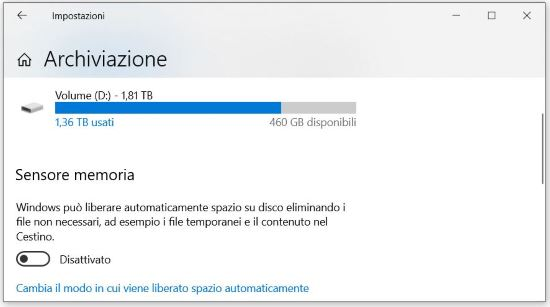 Come velocizzare al massimo Windows 10: Sensore memoria Windows 10