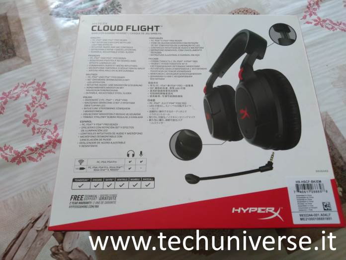 HyperX Cloud Flight unboxing retro scatola