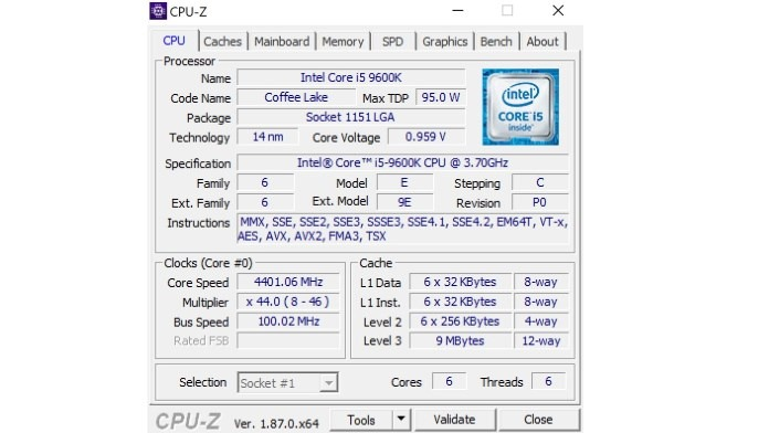 CpuZ Intel Core i5-9600K