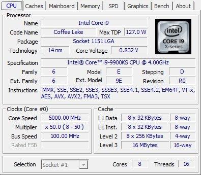 Intel Core i9 9900KS CPUZ
