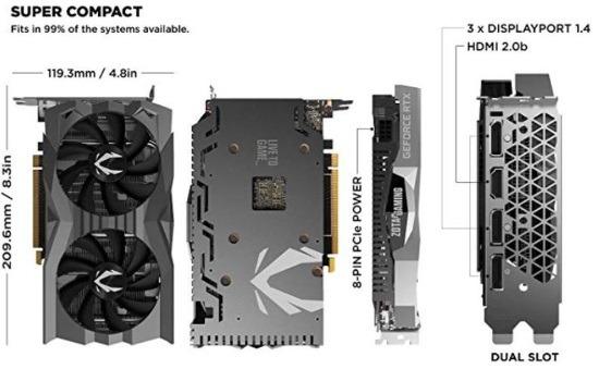 Zotac GeForce GTX 1660 Super AMP 6GB - Misure
