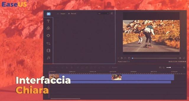 Interfaccia semplice del software per modificare video EaseUS Video Editor